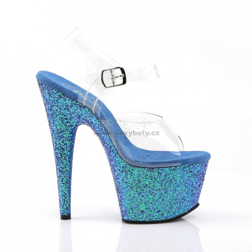 5e048dbc0e07 modré dámské sandály s glitry na vysoké platformě Adore-708lg-cblg -  Velikost 42