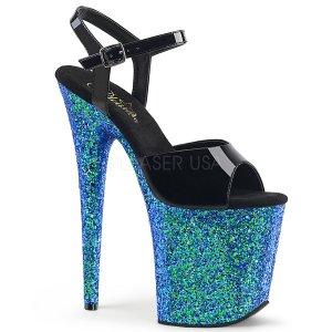 modré boty na extra vysoké platformě s glitry Flamingo-809lg-bblg