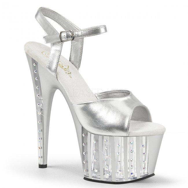 stříbrné dámské vysoké sandálky s kamínky Adore-709vlrs-spu - Velikost 41