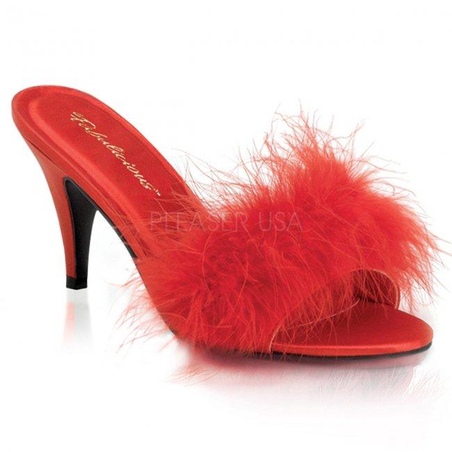 červené dámské erotické pantoflíčky Amour-03-rsat - Velikost 46