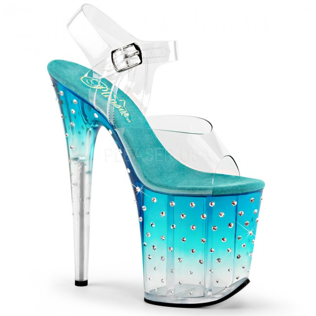 tyrkysově modré dámské extra vysoké sandálky s kamínky Stardust-808t-ctlc - Velikost 39