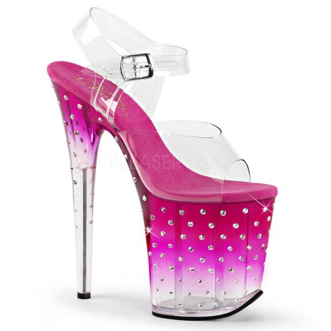 dámské růžové extra vysoké sandálky s kamínky Stardust-808t-cpnc - Velikost 35
