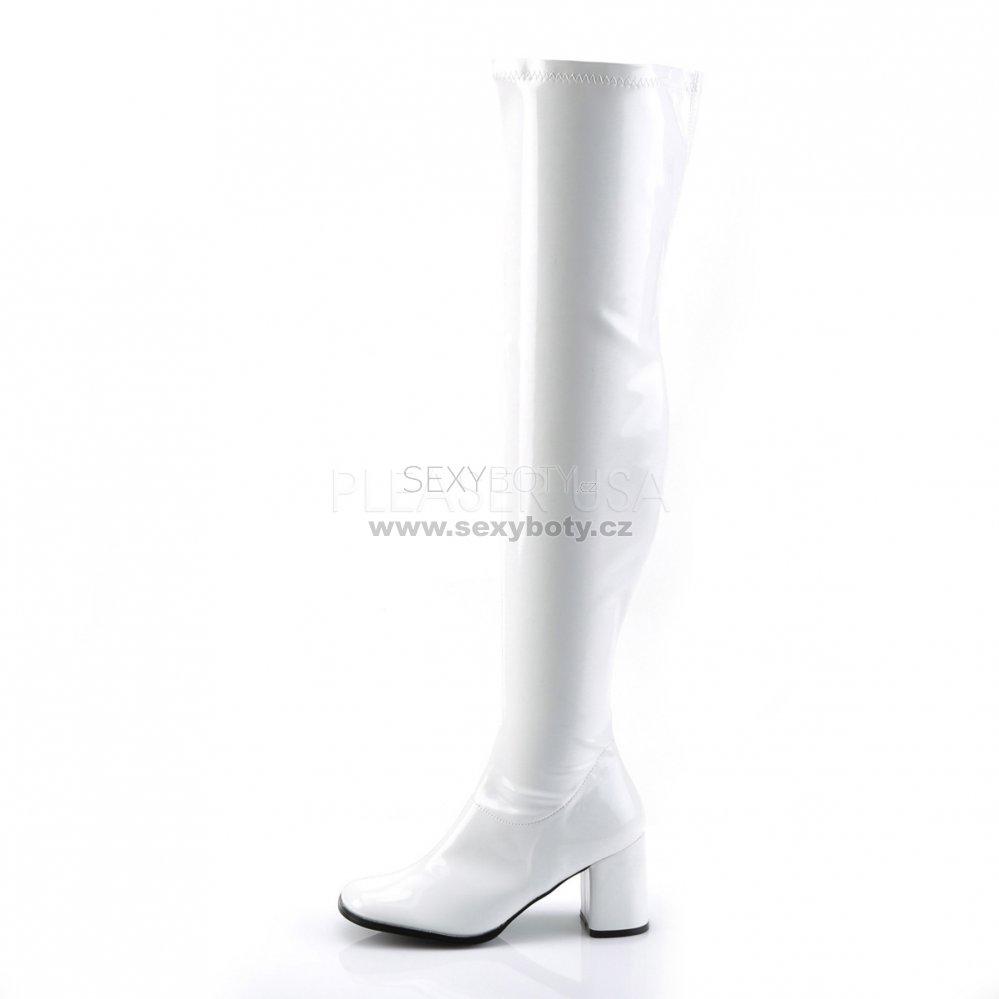 5e1ea9e46e7 bílé dámské latexové kozačky nad kolena Gogo-3000-w - Velikost 35 ...