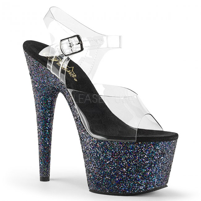 dámské černé sandály s glitry na vysoké platformě Adore-708lg-cbg - Velikost 36