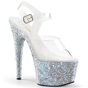 dámské stříbrné sandály s glitry na vysoké platformě Adore-708lg-csg