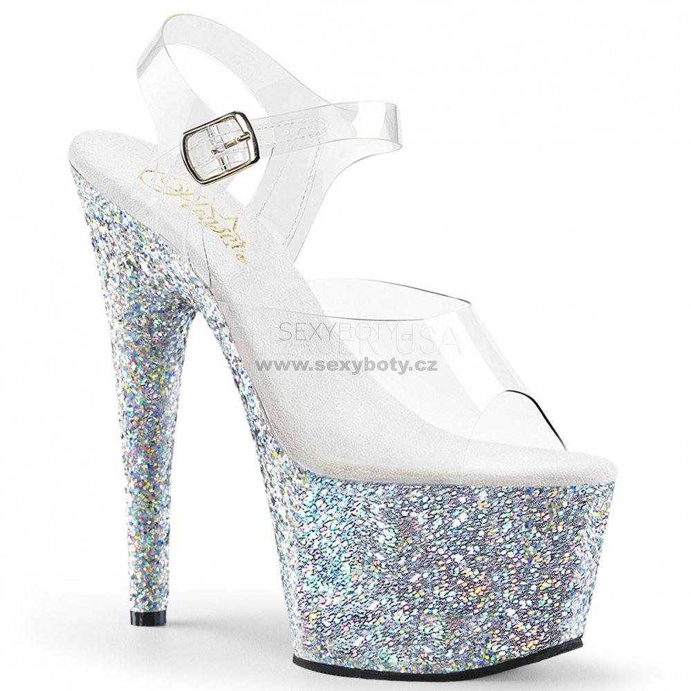 03ad4433f4e5 dámské stříbrné sandály s glitry na vysoké platformě Adore-708lg-csg -  Velikost 41