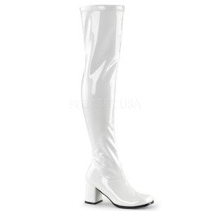 bílé dámské latexové kozačky nad kolena Gogo-3000-w