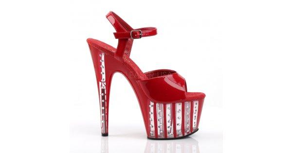 5bacaa7e1eb červené dámské vysoké sandálky s kamínky Adore-709vlrs-r - Velikost 37    SEXYBOTY.cz
