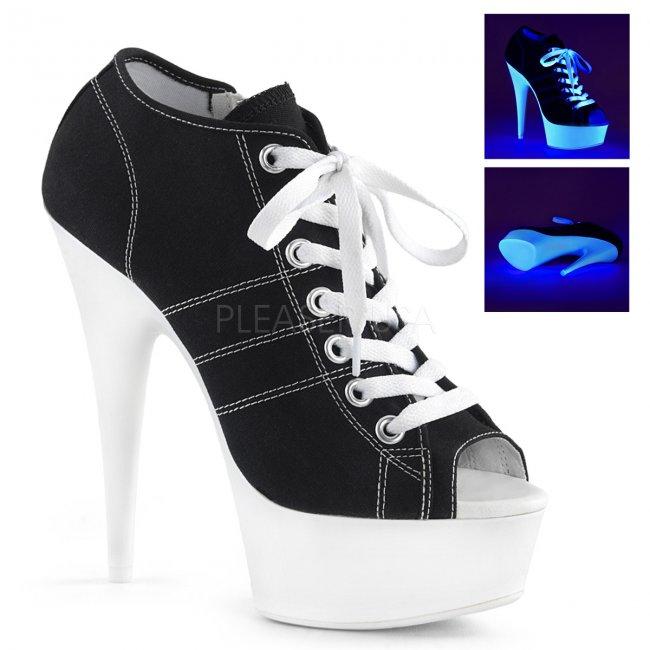 černé dámské tenisky na platformě a podpatku Delight-600sk-01-bcanw - Velikost 36