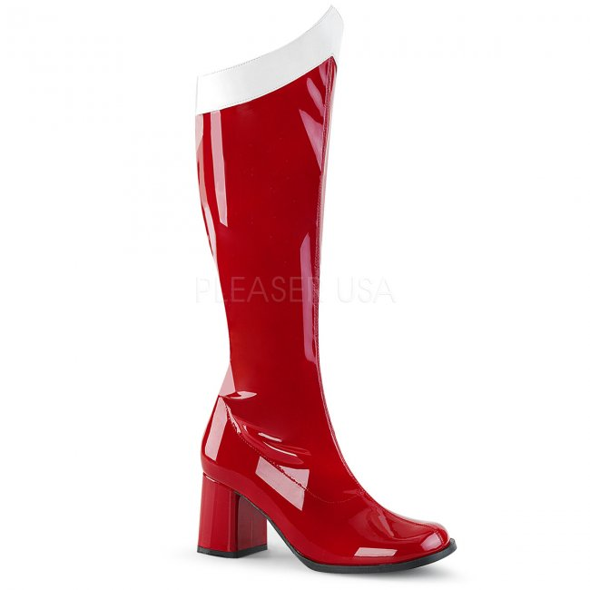 dámské červené latexové kozačky pod kolena Gogo-306-rw - Velikost 38