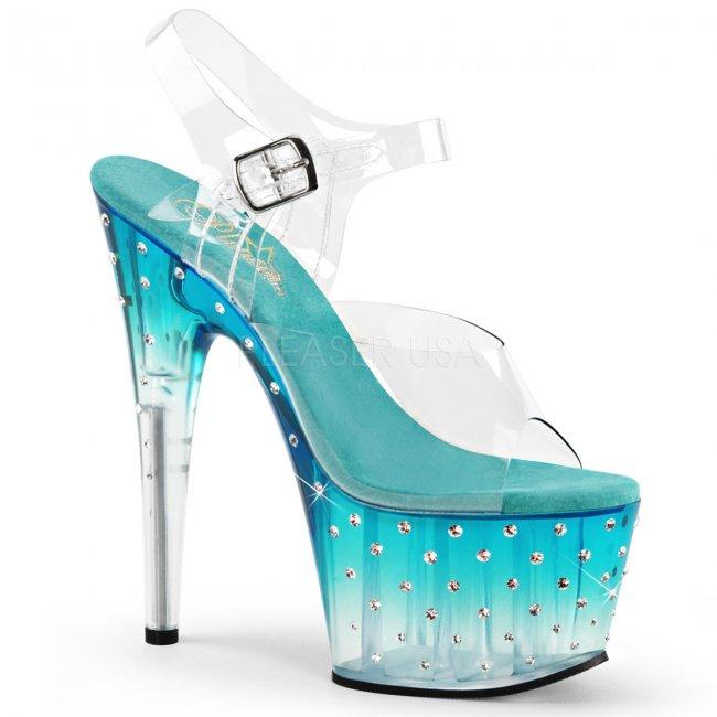 tyrkysově modré dámské vysoké sandálky s kamínky Stardust-708t-ctlc - Velikost 37