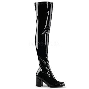 černé dámské latexové kozačky nad kolena Gogo-3000-b