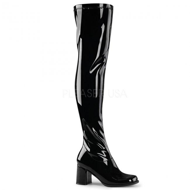 černé dámské latexové kozačky nad kolena Gogo-3000-b - Velikost 38