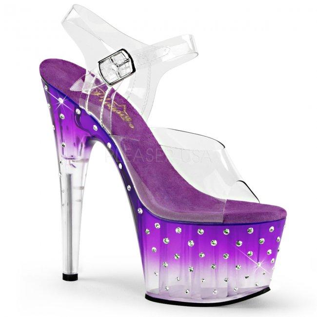 dámské fialové vysoké sandálky s kamínky Stardust-708t-cppc - Velikost 36