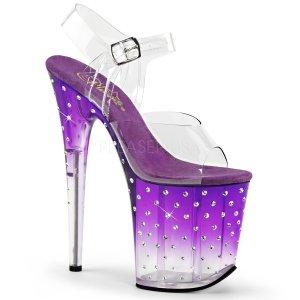 dámské fialové extra vysoké sandálky s kamínky Stardust-808t-cppc