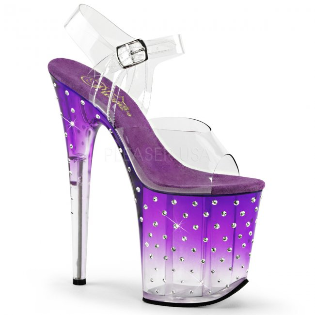 dámské fialové extra vysoké sandálky s kamínky Stardust-808t-cppc - Velikost 37