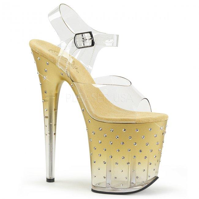 zlaté dámské extra vysoké sandálky s kamínky Stardust-808t-cgc - Velikost 36