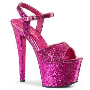 růžové vysoké dámské sandály s glitry Sky-310lg-hpg