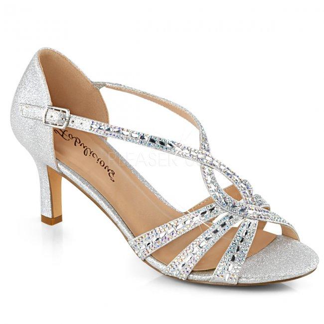 dámské stříbrné společenské sandálky Missy-03-sfa - Velikost 39