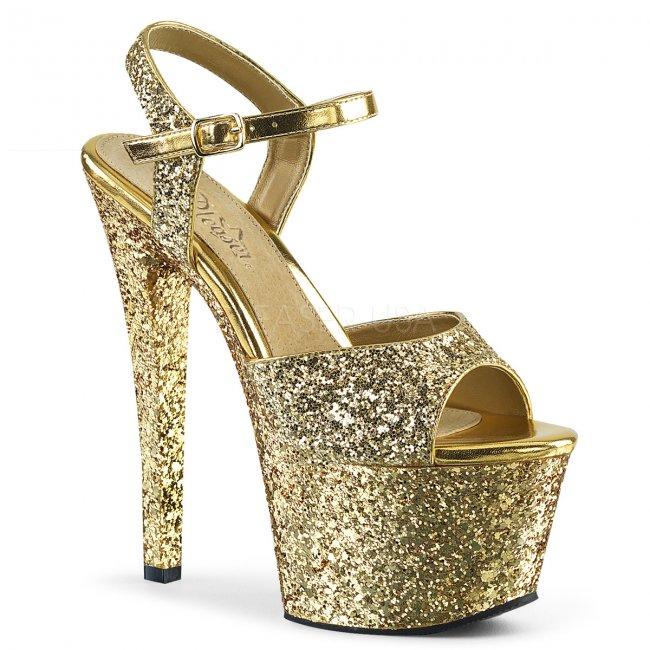 vysoké dámské zlaté sandály s glitry Sky-310lg-gg - Velikost 36