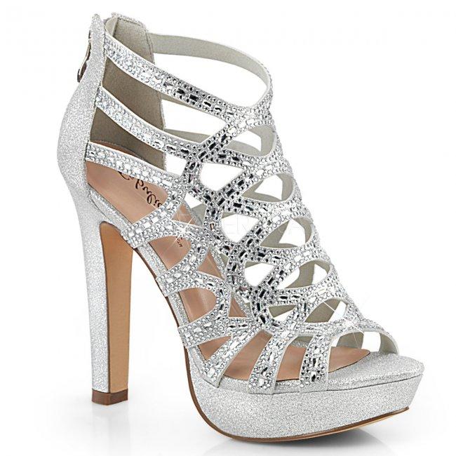 dámské stříbrné kotníkové sandálky Selene-24-sfa - Velikost 41