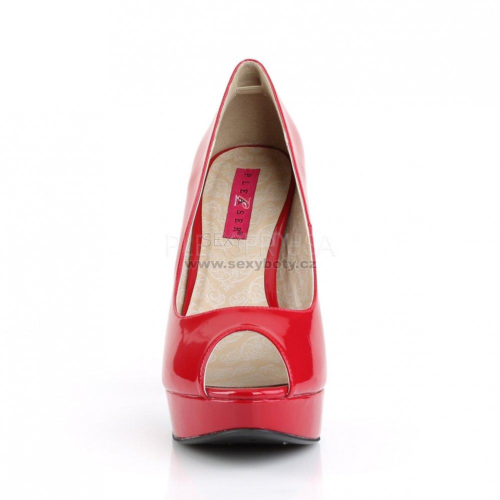 červené lodičky s otevřenou špičkou Chloe-01-r - Velikost 35 ... 38aea0c7f6