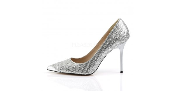 stříbrné dámské lodičky s glitry Classique-20-sglf - Velikost 43    SEXYBOTY.cz b2990da468