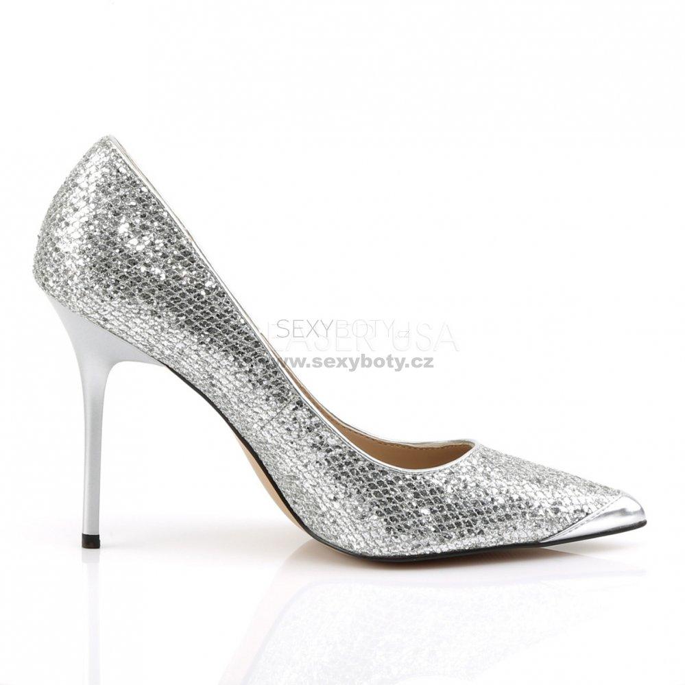 stříbrné dámské lodičky s glitry Classique-20-sglf - Velikost 43 ... 2e14e406b5