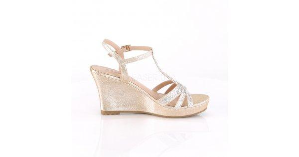 fee9f6787cae zlaté dámské sandálky na klínku Silvie-20-chafa - Velikost 38   SEXYBOTY.cz