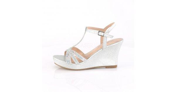 78942797cc64 stříbrné dámské sandálky na klínku Silvie-20-sfa - Velikost 39   SEXYBOTY.cz