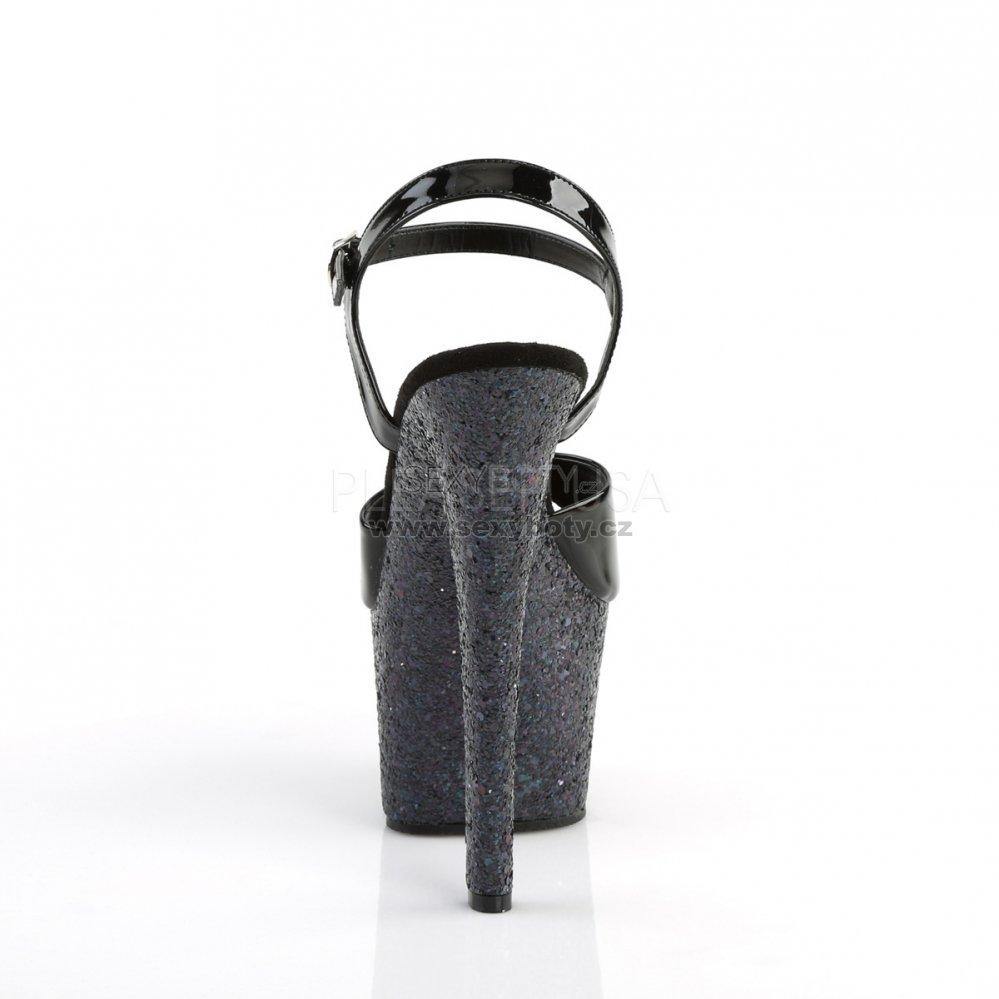 dámské černé sandály s glitry na vysoké platformě Sky-309lg-b - Velikost 41 29b66a7675