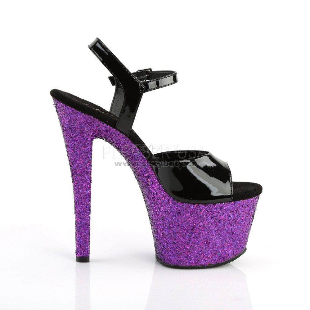 dámské fialové sandály s glitry na vysoké platformě Sky-309lg-bppg -  Velikost 39 c213e5c493