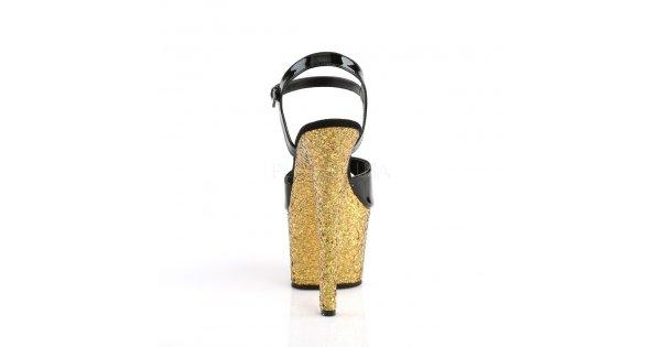 dámské zlaté sandály s glitry na vysoké platformě Sky-309lg-bgg - Velikost  38   SEXYBOTY.cz 861619e35a