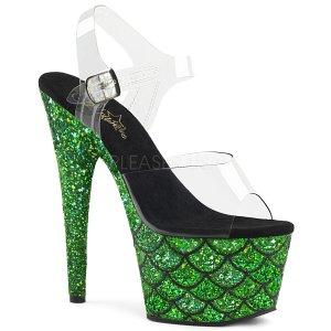 vysoké zelené sandály s glitry Adore-708mslg-cgng