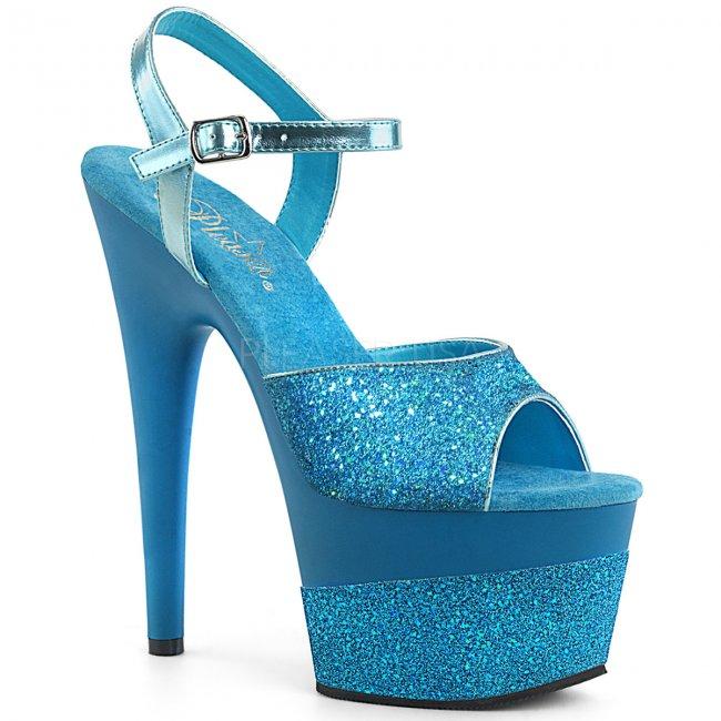 modré vysoké dámské sandály s glitry Adore-709-2g-aqg - Velikost 37