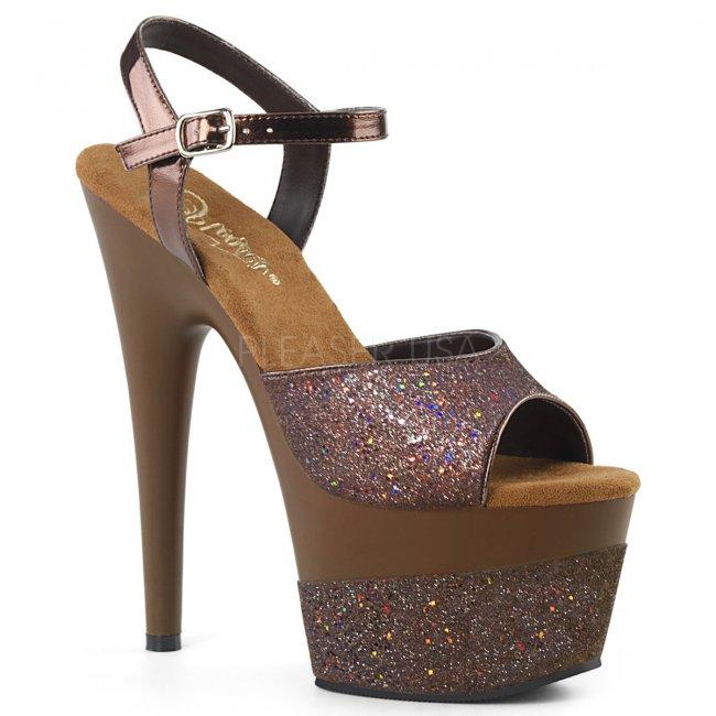 hnědé vysoké dámské sandály s glitry Adore-709-2g-cfg - Velikost 39