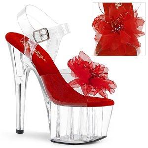 vysoké dámské červené sandále s květinou Adore-708bfl-crc