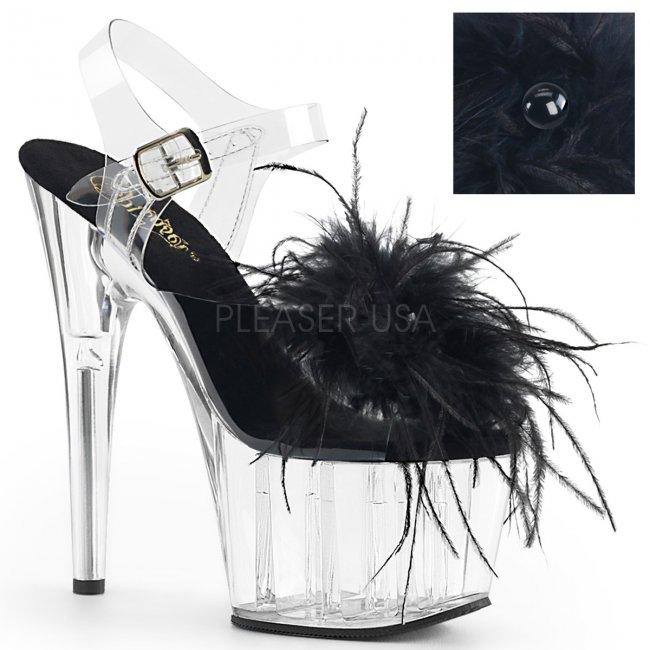 vysoké dámské sandále s černým boa Adore-708mf-cbfeac - Velikost 36