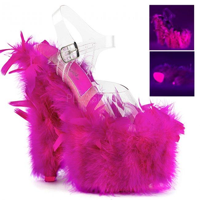 vysoké dámské sandále s růžovým boa Adore-708f-cnhp - Velikost 39