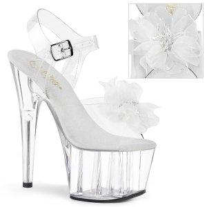 vysoké dámské bílé sandále s květinou Adore-708bfl-cwc