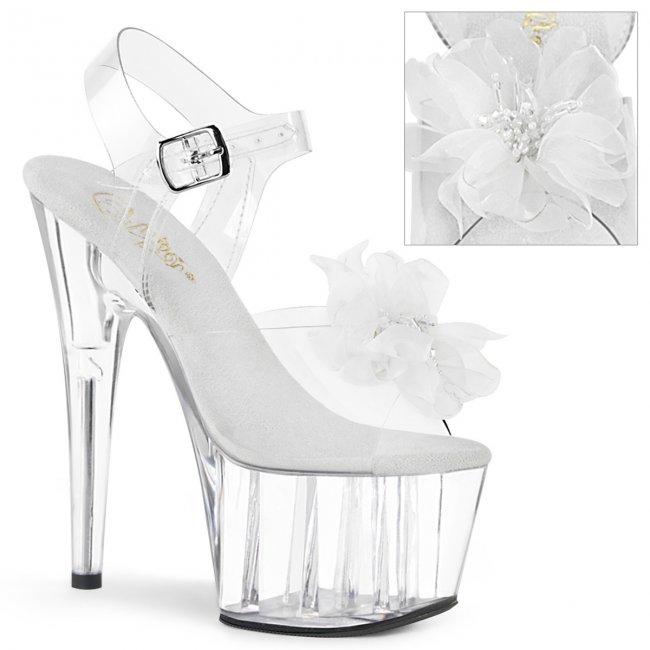 vysoké dámské bílé sandále s květinou Adore-708bfl-cwc - Velikost 38