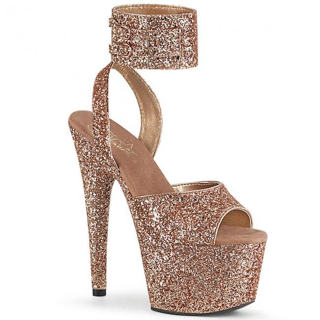 vysoké zlaté dámské sandále s glitry Adore-791lg-rogldg - Velikost 36