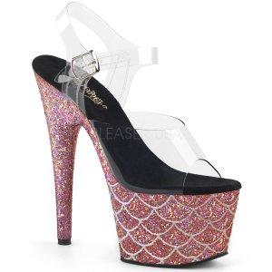 vysoké růžové sandály s glitry Adore-708mslg-csalg