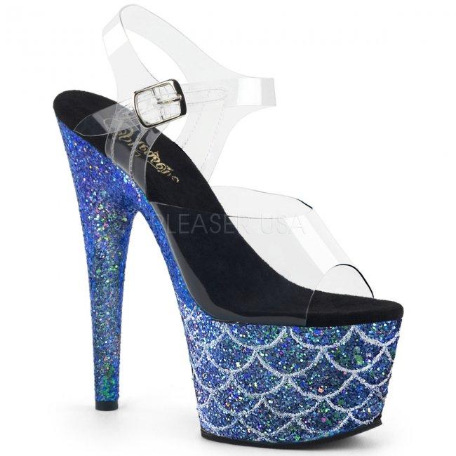 vysoké modré sandály s glitry Adore-708mslg-cblg - Velikost 35