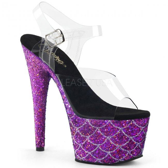 fialové vysoké sandály s glitry Adore-708mslg-cppg - Velikost 35