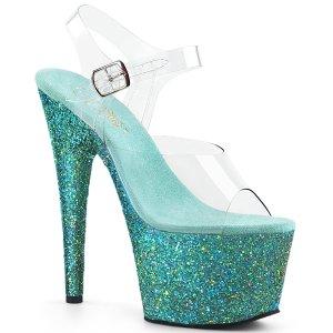 modré dámské sandály s glitry na vysoké platformě Adore-708lg-cteag
