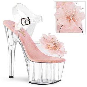 vysoké dámské růžové sandále s květinou Adore-708bfl-cbpc