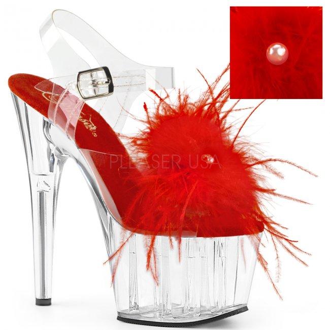vysoké dámské sandále s červeným boa Adore-708mf-crfeac - Velikost 37