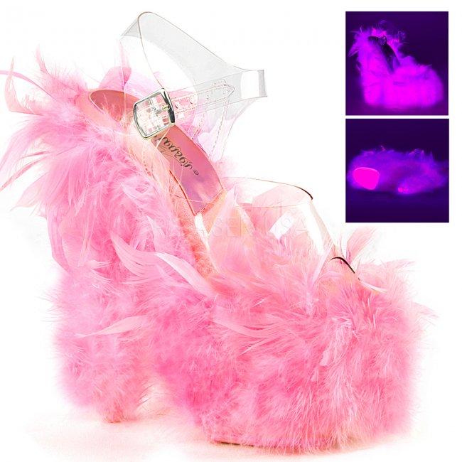 vysoké dámské sandále s růžovým boa Adore-708f-cnp - Velikost 37
