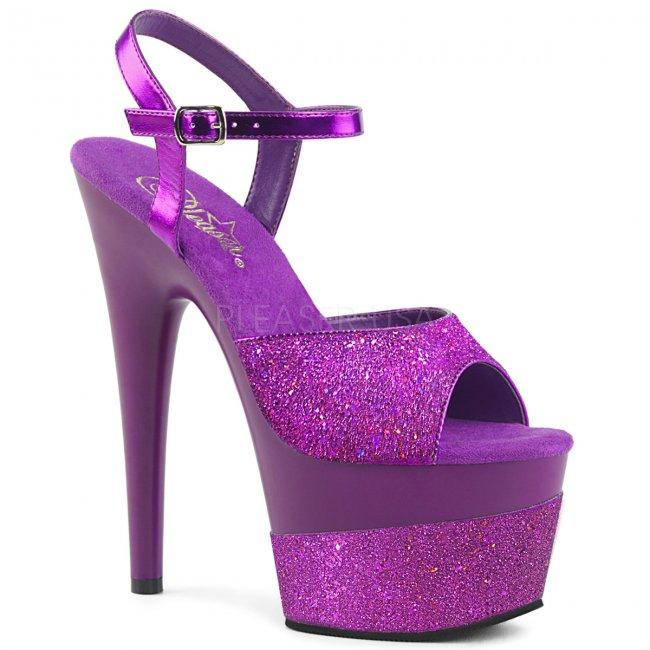 vysoké dámské fialové sandály s glitry Adore-709-2g-ppg - Velikost 39